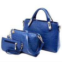 Wholesale 2017 New Arrival Set Women Totes Bags Fashion Classic Alligator PU Leather Designer Handbags Lady s Shoulder Bags And Purse E431