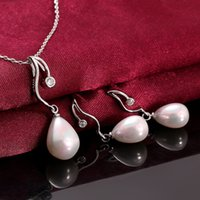 Wholesale Earrings necklace set Genuine Shell Pearl k Gold Lady Women Cherry Dangle s049 gift box free New Fashion Jewelry