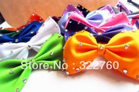 Wholesale Adjustable Pet Dog Cat Bow collar toys rhinestone necktie mix colour