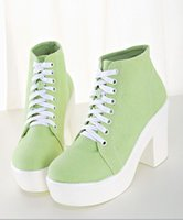 Cheap Free shipping! stylenanda light green lace up thick heel shoes white platform boots college wind spring fall winter man boots leather