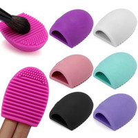 Wholesale New Arrival Hot Brushegg Cleaning Makeup Washing Brush Silica Glove Scrubber Board Cosmetic Clean Tools colors