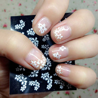 Wholesale High Quality Sheets Floral Design White D Nail Art Stickers Decals Manicure Decoration Beautiful Fashion Accessories