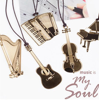 Wholesale 2015 New creative exquisite gold plated metal lanyard musical instruments piano violin guitar bookmark High quality
