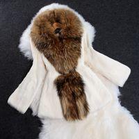 Wholesale Autumn Ladies Natural Rabbit Fur Coat Jacket Raccoon Fur Collar Winter Women Fur Trench Outerwear Coats Plus Size ZJ1229