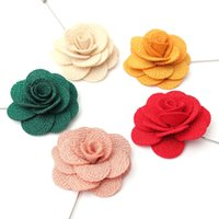 Wholesale 4 cm Fashion Women Lapel Stick Fabric Flowers Pin Brooches Corsage Wedding Boutonniere