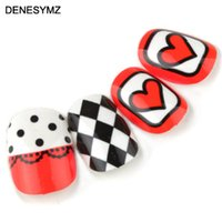 beauty tips bride - h2 Nail art nail tips red love short design false nail patch sclerite finished product bride wedding party beauty