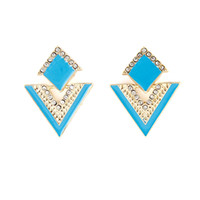 Wholesale Brincos Triangle Colorful Enamel Rhinestone Alloy Dangle Earrings for Women Fashion Jewelry Christmas Gifts