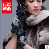 Wholesale 2014 sizes rabbit hair fashion hot selling elegant women man warm leather pu gloves velvet glove outdoor driving glovesTOPB512