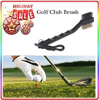 Wholesale Fashion Hot Dual Bristles Golf Club Brush Cleaner Ball Way Cleaning Clip Plastic Groove