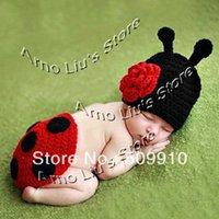 newborn props - Hand Crochet Ladybug Set Baby Photography Props Newborn Ladybug Hat and Cover Set Infant Animal Beanie Hats