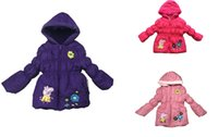 Wholesale 2014 Winter Pink Pig girls long sleeved cotton Beiji Rong thick hooded coat color girls jacket h3