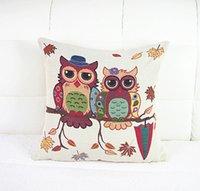 throw pillows square - Fashion Pillow Case Owl Print Linen Cushion Cover Square Home Throw Sofa Simple
