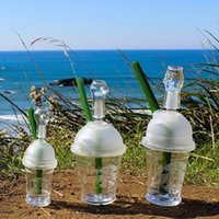 glass domes - Cheap price Starbucks cup sandblasted glass bong water pipes hookah concentrate oil rig glass bong glass dome and nail Hookah