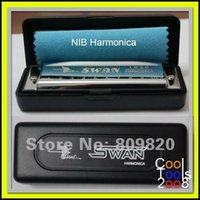 Wholesale Brand new silver tone Swan Diatonic Harmonica Blues Harps Hole Key D with plastic box Music christmas gift