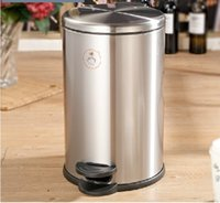 Wholesale German stainless steel covered creative drum home heavy foot toilet mute kitchen trash can