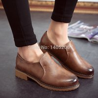 Wholesale New England style shoes flat single girl leather shoes rough with the leisure small leather shoes school style comfortable shoes