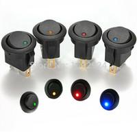 Wholesale 5Pcs Blue V LED Dot Light Car Boat Round Rocker ON OFF SPST Switch Pins with LED