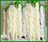 Wholesale 2016 Wedding party favors Artificial flowers M M Silk Flowers Long Elegant Wisteria Vine Rattan For Wedding home Christmas decorations