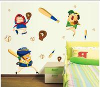 baseball wall decor - 2014 New Arrive Vinyl Wall Sticker Cartoon Baseball Player Home Decor Wall Decals for Kids Rooms