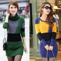 Wholesale Today s Deals new high collar and long sections Slim bottoming knit sweater dress coat big yards Ms