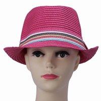 Wholesale Sun Hat Bulk - Wholesale-Bulk 10pcs lot Rose Red Color Straw Unisex Sun Beach Hat Rainbow Band Decor Fedora Free Shipping DVZ1