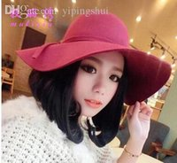 Wholesale Quality Guarantee New Winter Soft Cashmere Wide Brim Hats Solid Color Bowler Hats Christmas Gift