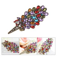 Cheap Vintage Peacock Crystal Hair Clip Rhinestones Alloy Colorful Shiny Crab Hairpin Decoration Accessory W560