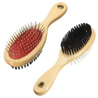 Wholesale Hot sales Pet Animal for Cat Dog Puppy Wooden Grooming Brush Bristle Pins Double Sided Comb order lt no track