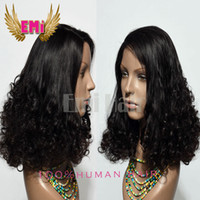 beautiful full lace wig - Human Hair Wigs Beautiful Big Bottom curl Natural Color quot Indian Virgin Remy Hair Lace Front Wigs For African Americans