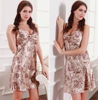 Wholesale Fashion Sexy Women Faux Silk Sleepwear Lady Babydoll Dress Lingerie Pajamas Nightgown Nightwear Nightdress EJC