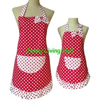 cotton apron - Mother and Daughter Apron Cotton Polka Dot Apron with Ruffle