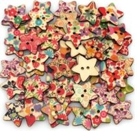 Cheap 50Pcs 25X25mm Star Shaped Painted 2 Holes Wooden Buttons Clothing Accessories 4Z046