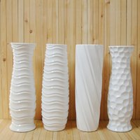 Wholesale High temperature ceramic white vase ground large bottles glazing surface flowers container brief water proof planter cm H