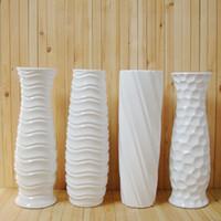 ceramic flower vase - High temperature ceramic white vase ground large bottles glazing surface flowers container brief water proof planter cm H