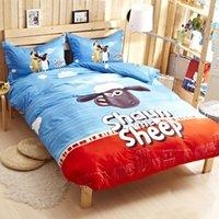 Wholesale Shaun the Sheep cartoon children three boys cute denim bedding linen Teddy Bear Li