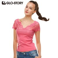 band t shirts women - GLO STORY Band Women Tops New High Quality Summer T shirt Lace V neck Short Sleeve T Shirt Women Solid Tee Shirt