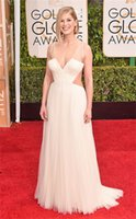 Wholesale 2015 nd Golden Globe Rosamund Pike At the Carpet Celebrity Dresses Spaghetti Strap Tulle Long Formal Evening Gown Fashion Design For Women