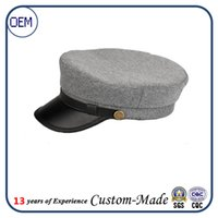 artificial fur material - China factory custom wool material military caps fashion girl navy uniform hats