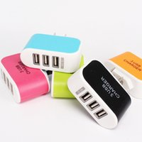 Wholesale LED Light Triple USB ports A USB AC US EU candy color wall charger home plug for samsung s6edge plus for iphone plus s