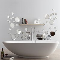 wall mirror - 9 Round Shape Mirror Wall Sticker d living Room Background Decor Sticker For Room Decor MS361002