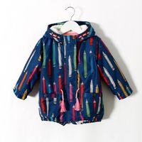 Wholesale Babys Fleece Long Tench Coats Pencil Pattern Design Hooded Casual Design Girls Warm Outwear
