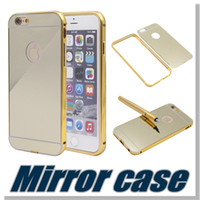 Wholesale Mirror Case For Iphone Aluminum metal bumper frame case with mirror Back cover Samsung S6 edge plus Without Package