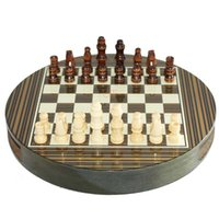 Wholesale 2015 New design mini circle drawer type solid wood folding portable travel chess with chess pieces