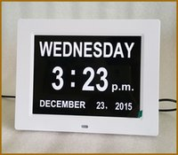 big digital led calendar clock - Big digital clock desktop white black digital day clock for dementia