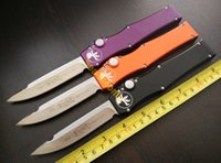 kydex - Microtech Halo V S E single action OTF Satin Standard Plain Blade Aluminum Handles Clip Point Kydex Sheath tactical knife