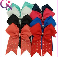 alligator clip holder - 30 off inch Large Solid Cheer bows With Alligator Clips Girls Ponytail Holder Rhinestone Cheer Bow Hair Accessories