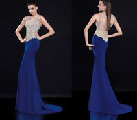Cheap Royal Blue 2015 Evening Dresses Tarik Ediz Prom Gowns Applique Beads V Neck Sheer Back Tarik Ediz Mother of The Bride Dresses New Vestidos