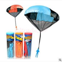 best science gifts - 60pcs CCA3128 High Quality Parachute Solid Launcher Sky Diver With Figure Soldier Children Outdoor Sports Play Toy Best Christmas Gifts