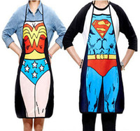Wholesale New Funny Novelty Sexy Dinner Party Superman Cooking Apron Wonder Woman Men Couples Party sexy fun gifts