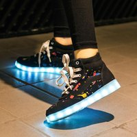 Wholesale 2015 New Sports Shoes Colorful LED Luminous Shoes Couples Shoes Men And Women Shoes USB charging light shoes Large Size Kinds Of Styles